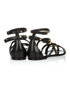 Punk Style Black Thong with Gold Metal Sandals