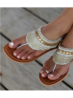 Egypt Style Silver Bead Shining Sandals