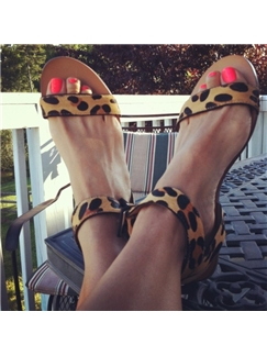 New Fashion Easy Style Leopard Print Sandals
