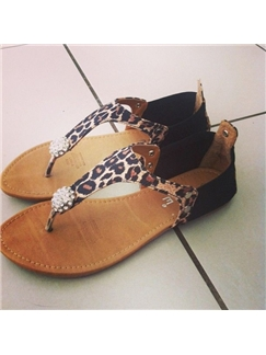 Thong with Beads Leopard Print Women's Flat Sandals