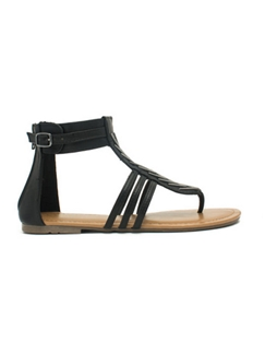 Multi Strap with Ankle Strap Flat Sandals
