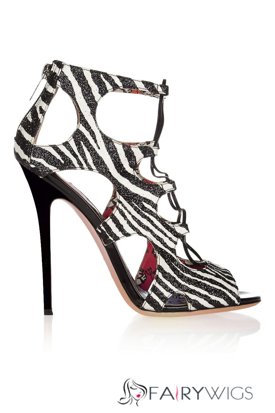 Cute Zebra Print Frenulum Peep Toe Heels Shoes Fairywigs Com