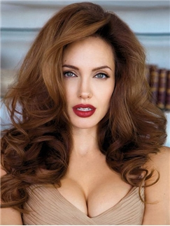 Top Quality Capless Medium Wavy Brown Human Hair Wigs