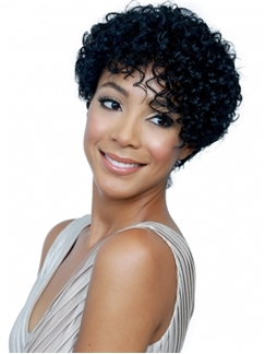 Chic Capless Short Curly Black Human Hair Wigs