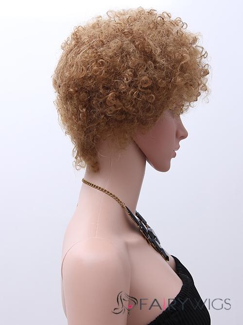 Chic Capless Short Curly Black Human Hair Wigs