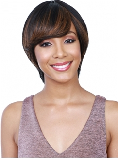 Cute Capless Short Straight Black Brown Human Hair Wigs