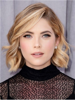Lovely Lace Front Short Wavy Human Hair Wigs