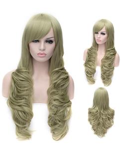 Romantic Cyan Long wavy Side Bang Synthetic Wig