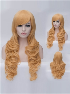 Romantic Dark Blonde Long wavy Side Bang Synthetic Wig