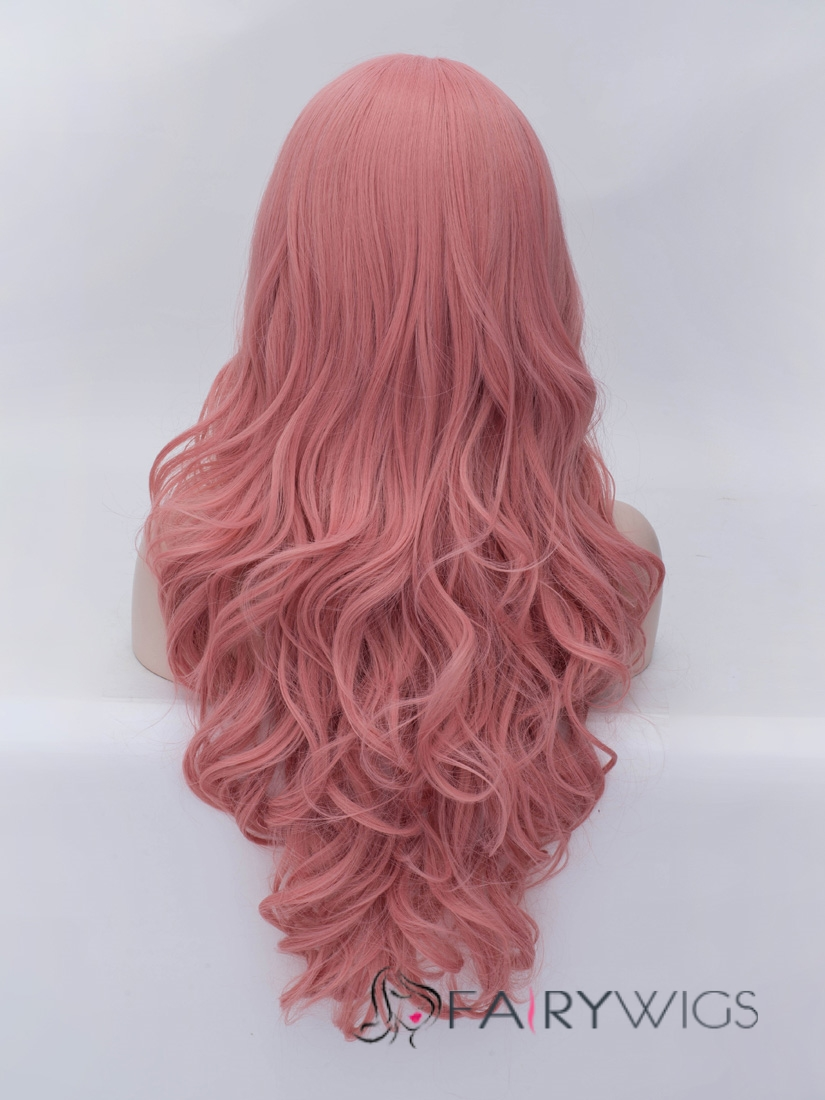 Romantic Dark Pink Long Wavy Side Bang Synthetic Wig