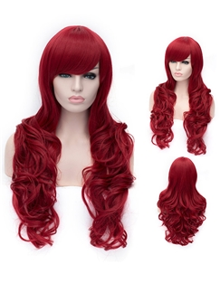 Romantic Claret wavy Side Bang Synthetic Wig