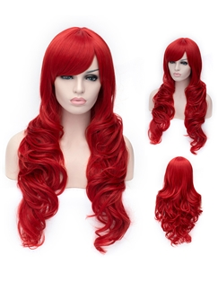 Romantic Red wavy Side Bang Synthetic Wig