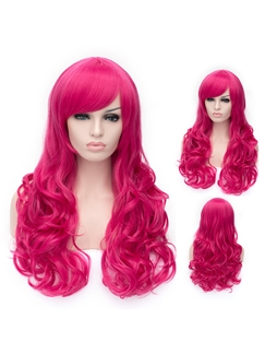 Romantic Rose Red wavy Side Bang Synthetic Wig
