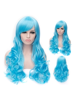 Romantic Sky Blue wavy Side Bang Synthetic Wig