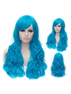 Romantic Blue wavy Side Bang Synthetic Wig