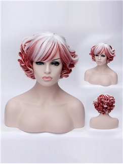 Occident Style White and Red Combined Sweet Side Bang Wavy wig