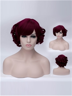 Occident Style Red Wine Sweet Side Bang Wavy wig