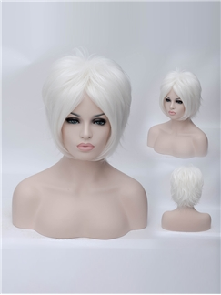 10 Inch Capless Wavy White Synthetic Hair Costume Wigs