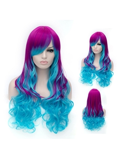 30 Inch Capless Wavy Mixed Color Synthetic Hair Short Costume Ombre Wigs