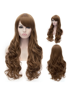 Amazing Dark Brown Side Bang Wavy High Heated Fiber Hair