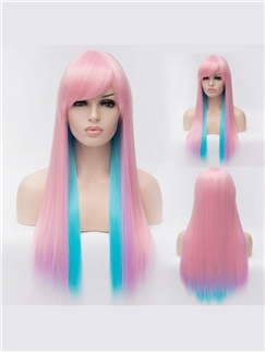 Impressive Cheap Capless Long Straight Mixed Color Hair Wigs