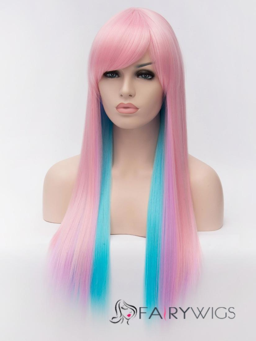 Impressive Cheap Capless Long Straight Mixed Color Hair