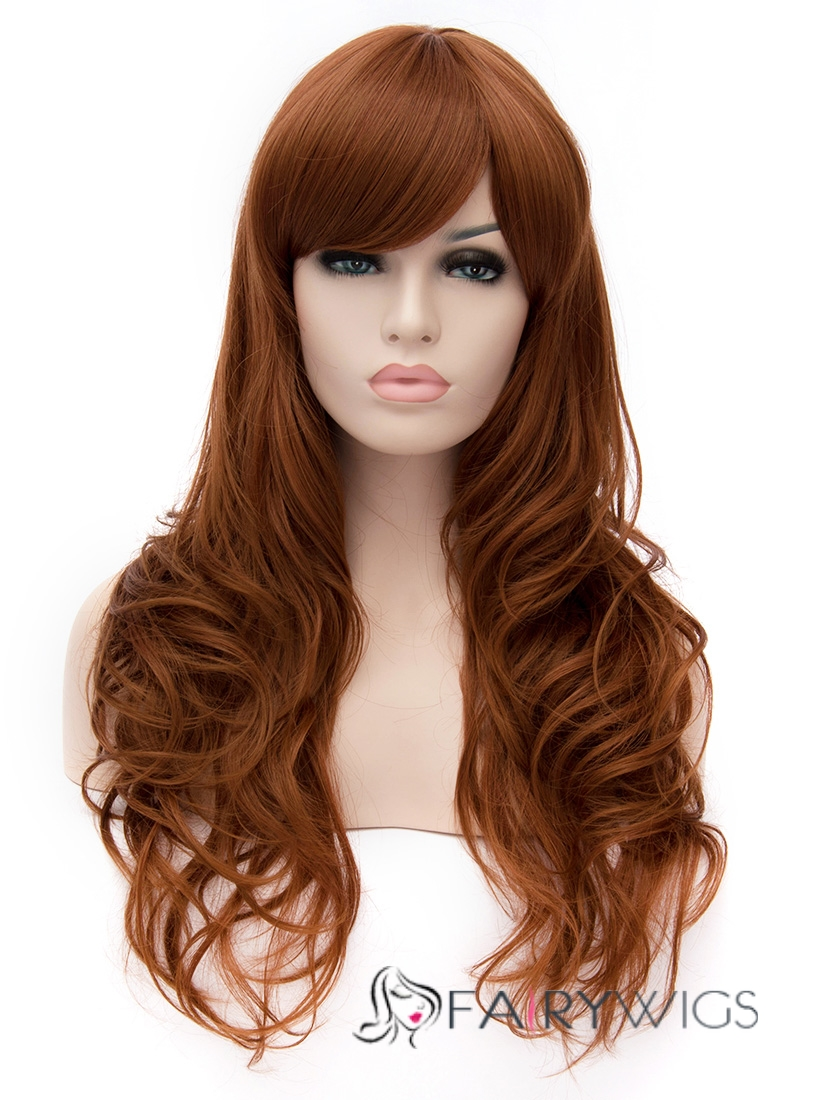 Affordable Capless Long Synthetic Hair Brown Wavy Cheap