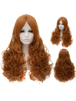 Online Wigs Long Curly Orange Golden Capless Wigs for Women