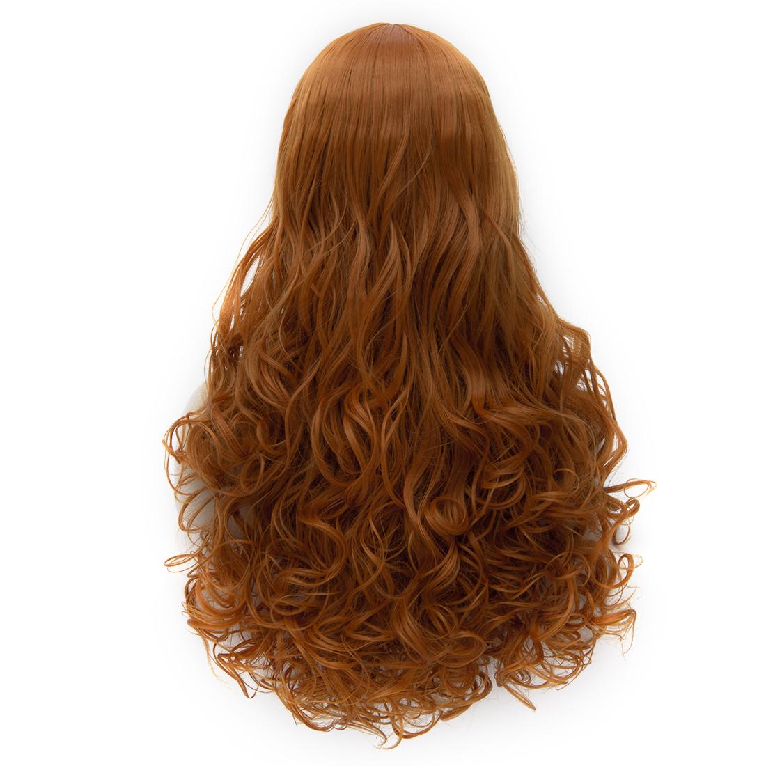 Online Wigs Long Curly Orange Golden Capless Wigs for Women