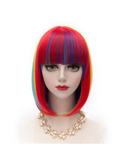 Short Straight Colored Synthetic Bobo Wigs