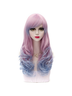 Long Wave Pink with Blue Cosplay Wigs 24 Inches