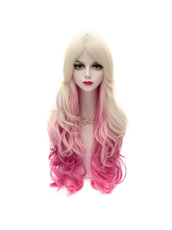 Long Wave Blonde with Pink Synthetic Hair Wig