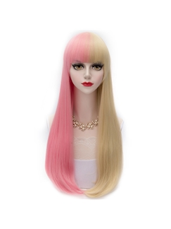 Cute Lolita Long Straight Pink with Blonde Cosplay Wigs