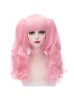 Cosplay Doll Pink Lolita Wig with Ponytails