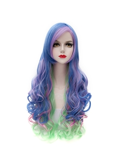 Top Quality Long Wave Blue Mixed with Green and Pink Lolita Wig