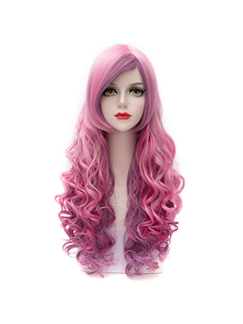 Japanese Trendy Rose Red Ombre Cosplay Wigs 28 Inches