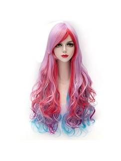 Colorfull Long Girl Cosplay Wigs 28 Inches