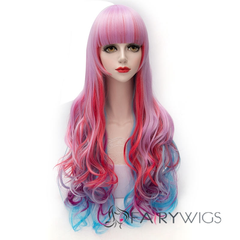 Pink Purple And Blue Wig 90