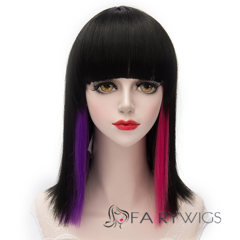 Normal Medium Straight Black Mixed with Purple and Rose Red Wig