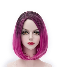 Rose Red Ombre Short Straight Lolita Wig