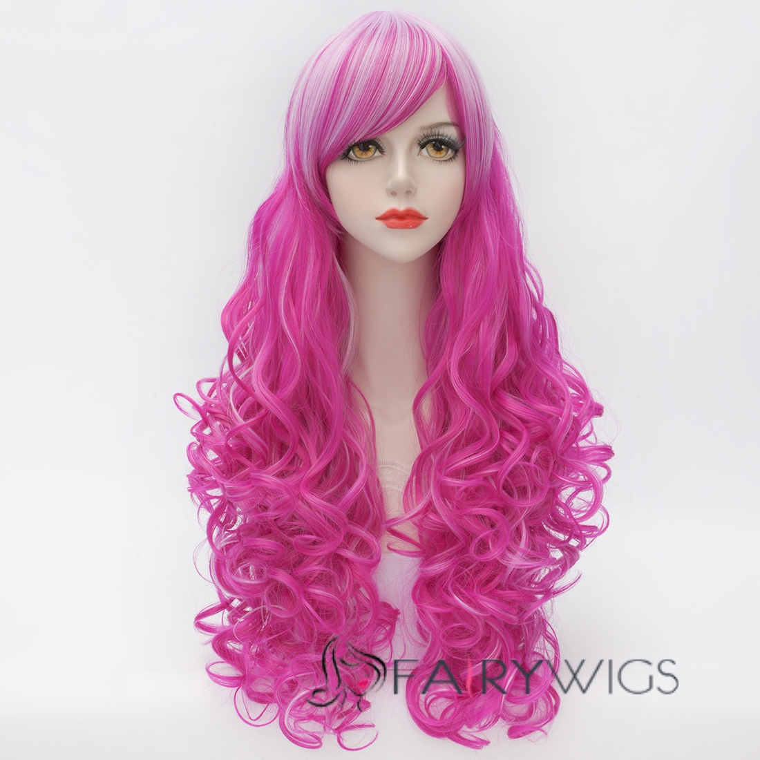 Hot Pink Long Hair Wigs 14