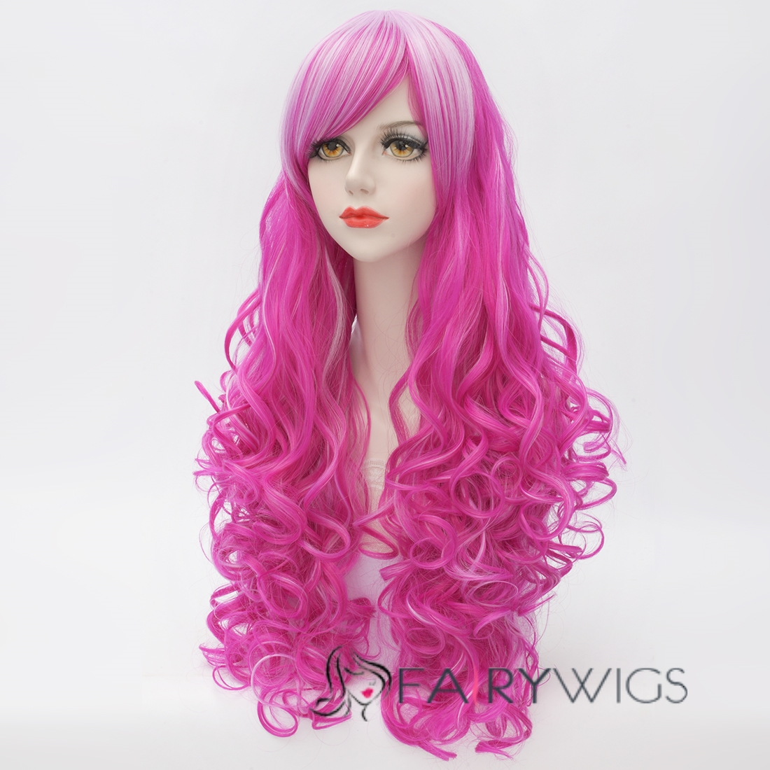 Hot Pink Long Hair Wigs 106