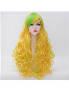 Long Deep Wave Yellow Lolita Synthetic Wig
