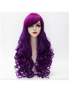 Pretty Lolita Hairstyle Long Curly Purple with Rose Red Mixed Synthetic Wig