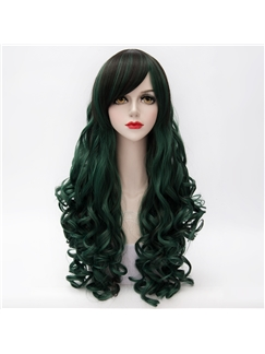 Deep Green Long Curly Lolita Cosplay Wig