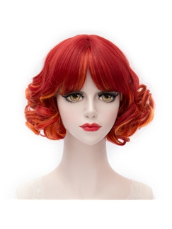 Short Curly Mixed Red and Orange Cosplay Wig