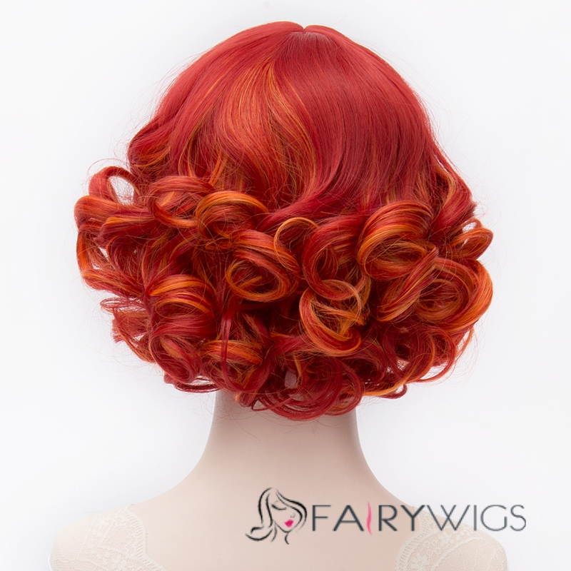 Short Curly Mixed Red And Orange Cosplay Wig Fairywigs Com