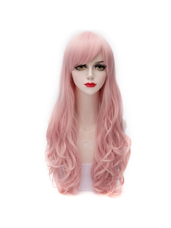 Japanese Cute Long Pink Wave Synthetic Cosplay Wigs