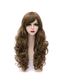 Dark Flaxen Long Curly Synthetic Hair Cosplay Wigs with Side Bang