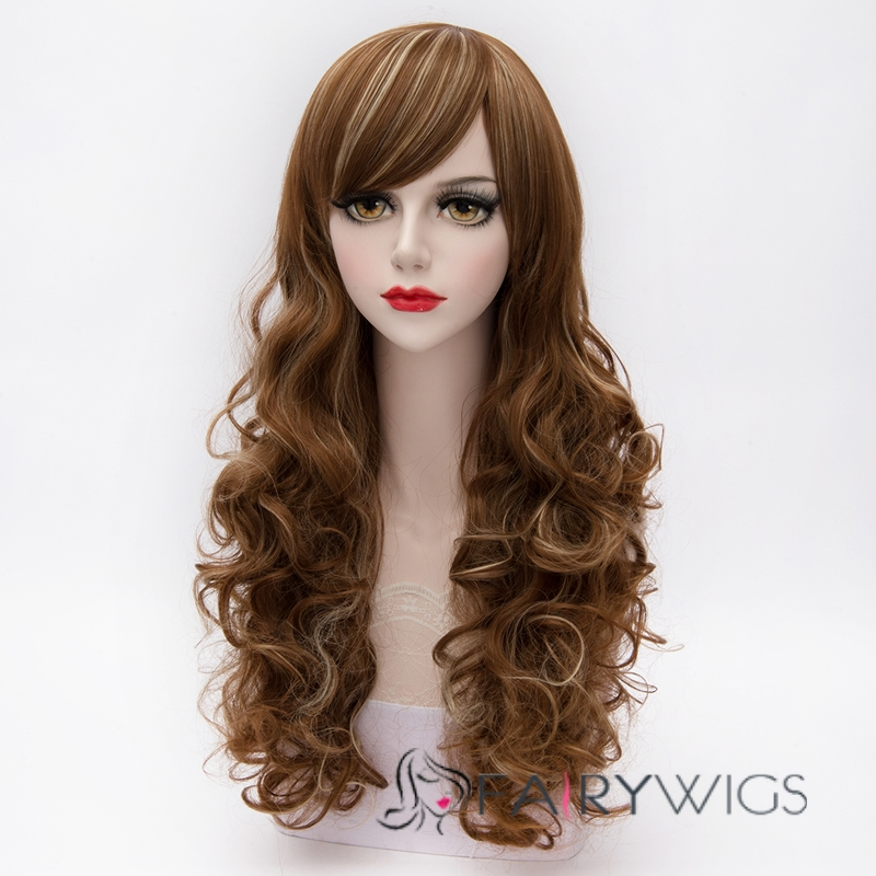Noble Long Brown Mixed with Blonde Curly Synthetic Cosplay Wig